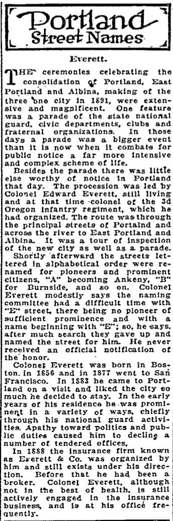 Portland Street Names - October 12, 1921 - Everett