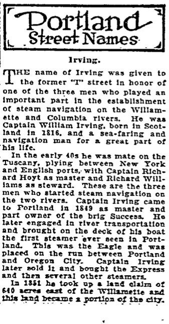 Portland Street Names - October 15, 1921 - Irving