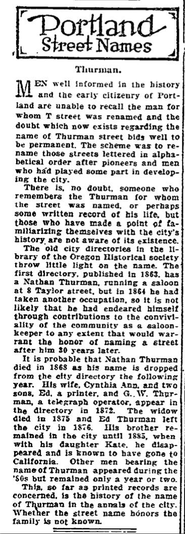Portland Street Names - October 28, 1921 - Thurman