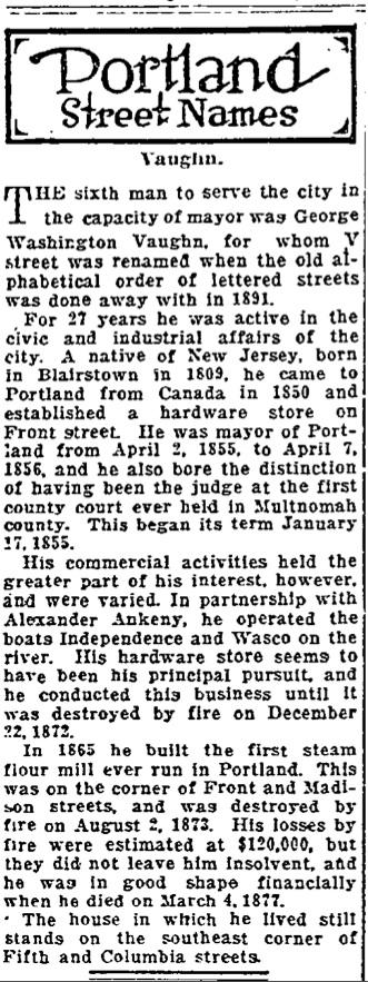 Portland Street Names - October 29, 1921 - Vaughn