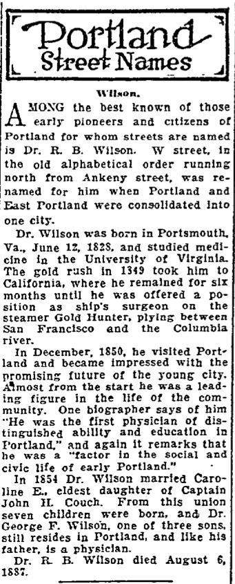 Portland Street Names - October 31, 1921 - Wilson