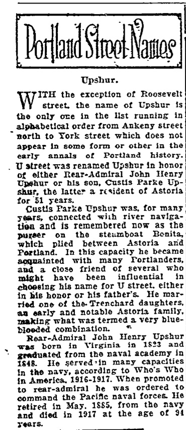 Portland Street Names - November 02, 1921 - Upshur