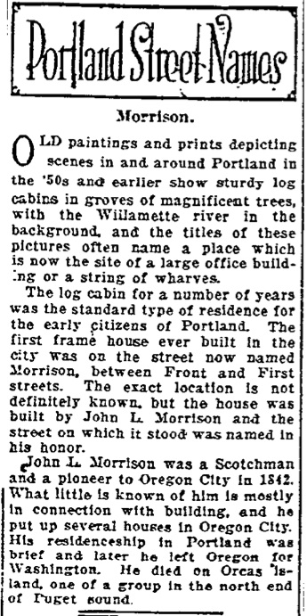 Portland Street Names - November 04, 1921 - Morrison