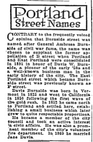Portland Street Names - October 5th, 1921 - Burnside