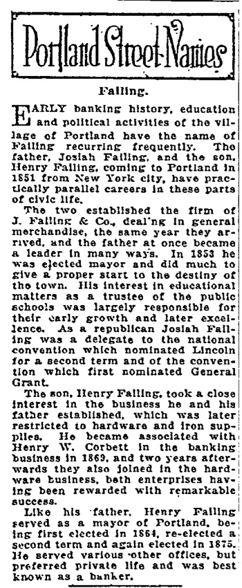 Portland Street Names - November 9th, 1921