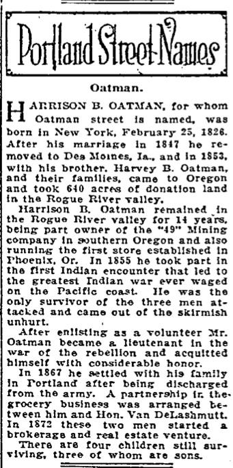 Portland Street Names - November 11, 1921 - Oatman