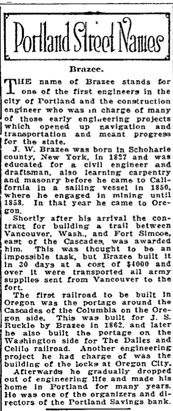 Portland Street Names - November 18, 1921 - Brazee