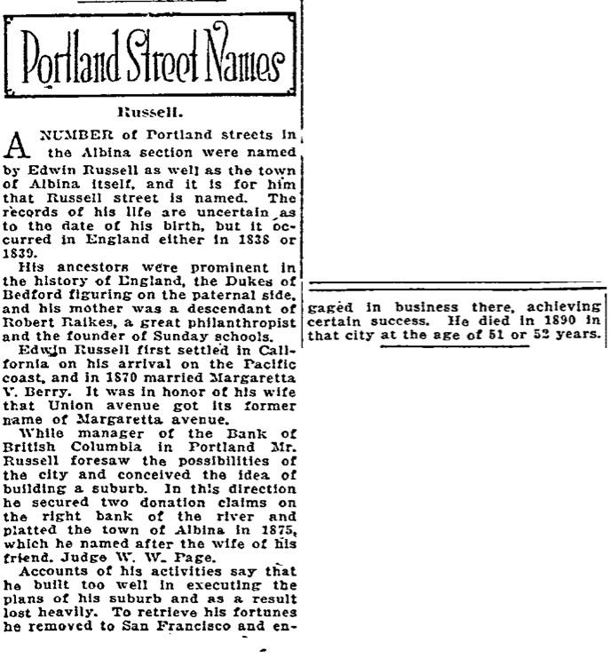 Portland Street Names - November 22, 1921 - Russel
