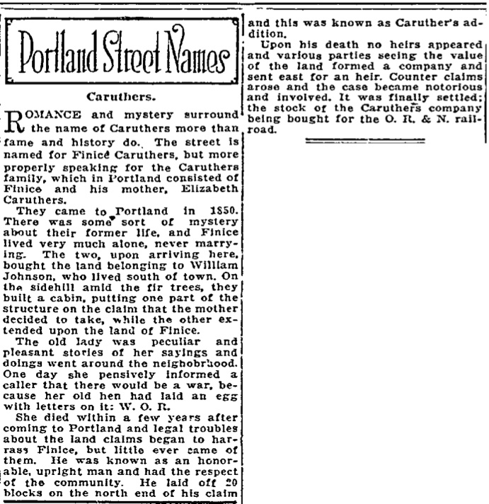 Portland Street Names - November 24, 1921 - Caruthers