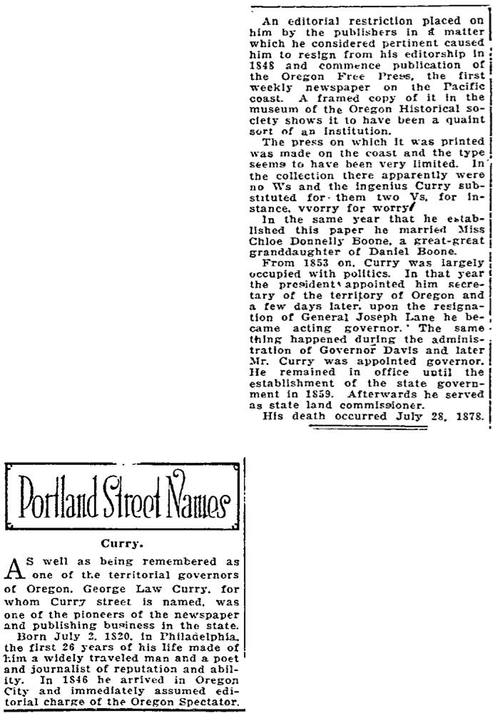 Portland Street Names - November 26, 1921 - Curry