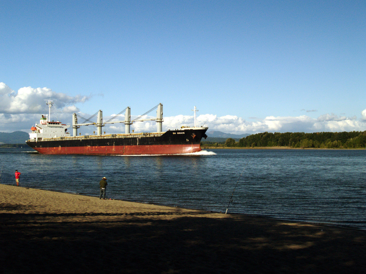 Ship passing Sauvie Island