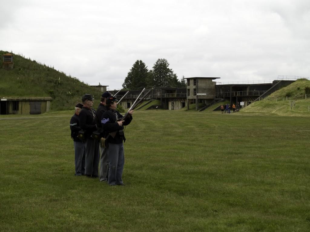 Civil War Reenactors readying a volley fire