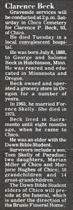 Clarence Beck's obiturary