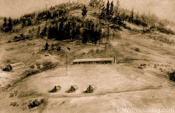 Drawing of Fort Hoskins