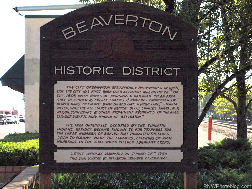 Beaverton Oregon History Sign