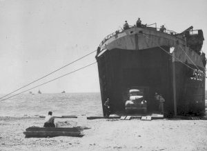 USS LST-263 beached at Civitavecchia, Italy