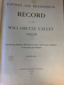 Portrait and Biographical Record of the Willamette Valley Oregon - TItle Page